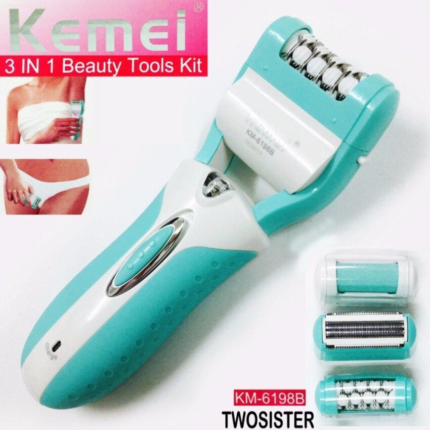 Kemei Twosister  Lady 3in1 เครื่องโกนขน สุภาพสตรี โกนได้แนบชิดผิว ลึกถึงราก + หัวเปลี่ยน Beauty Tool Kit   image
