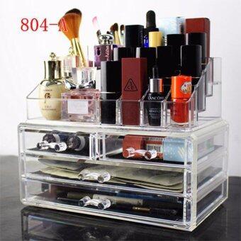 กล่องอะคริลิคใส สำหรับเครื่องสำอางค์ และเครื่องประดับ (4 ลิ้นชัก + 16 ช่องใส่ลิปสติก) 804-A