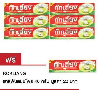 Kokliang ก๊กเลี้ยง ยาสีฟันสมุนไพร 100 กรัมX6หลอด แถมฟรี ก๊กเลี้ยงยาสีฟันสมุนไพร 40ก.