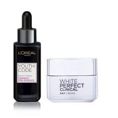 L'Oreal Paris Set YOUTH CODE PRE-ESSENCE and WHITE PERFECT CLINICAL DAY CREAM SPF19 PA +++ 50 ml