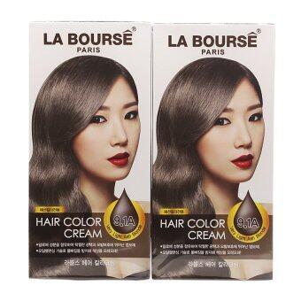 La Bourse Hair Color Cream ครีมเปลี่ยนสีผม ลาบูสส์ ปารีส No 9.1Aสีบลอนด์อ่อนประกายเทาเหลือบเทา (แพ็คคู่ราคาสุดคุ้ม!)