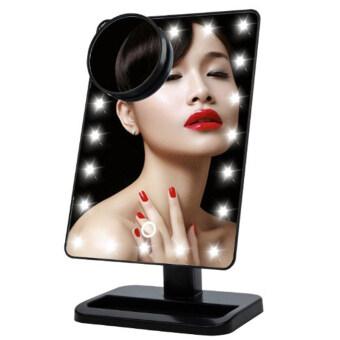 โต๊ะกระจกแต่งหน้า led แสงสว่างหน้าจอสัมผัส180องศาหมุนได้นั้นมีเครื่องสำอางแป้ง 10 x กระจกขยายจุด (สีดำ)