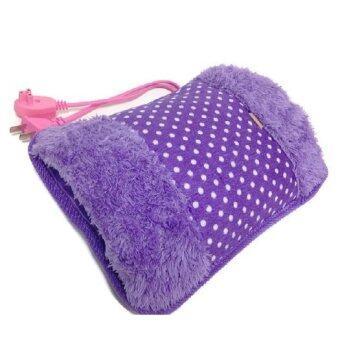 2560 Lotte กระเป๋าน้ำร้อนไฟฟ้า สอดมือได้ คลายหนาว ปวดเมื่อย Heating Bag (สีม่วง/ลายจุด)