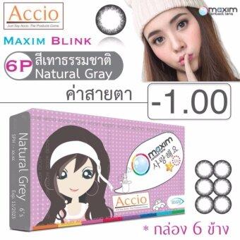Maxim Blink คอนแทคเลนส์สี รายเดือน บรรจุ 6 ชิ้น (เทาธรรมชาติ) ค่าสายตา -1.00