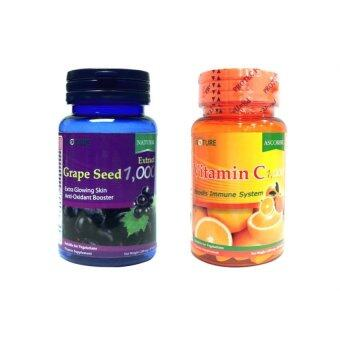 Nature วิตามิน ซี1,000 (Vitamin C 1,000) 30เม็ด+สารสกัดจากเมล็กองุ่น1,000 (Grape Seed 1,000) 30เม็ด