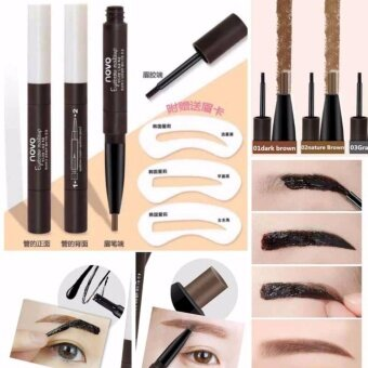 #No.02 Natural Brown (ลอกคิ้ว+เขียนคิ้ว) !!!!! แถมแผ่นบล๊อกคิ้ว Novo 2step Eyebrow Makeup คิ้วสวยแปบปังๆ