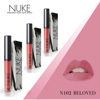 Nuke Lip Matte นุคลิปแมท ลิปกำมะหยี่ ลิปสีสวย สีแน่น ไม่หลุด สีชมพูตุ่น สว่าง เบอร์ 102 Beloved 3แท่ง