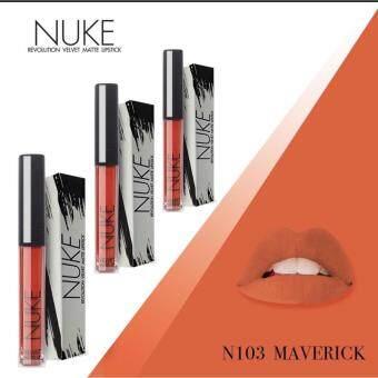 Nuke Lip Matte นุคลิปแมท ลิปกำมะหยี่ ลิปสีสวย สีแน่น ไม่หลุด สีส้มอิฐ เบอร์ 103 Maverick 3แท่ง