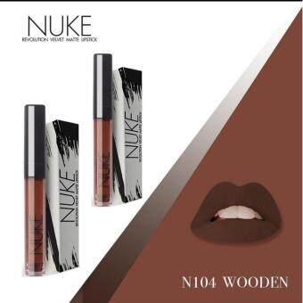 Nuke Lip Matte นุคลิปแมท ลิปกำมะหยี่ ลิปสีสวย สีแน่น ไม่หลุด สีน้ำตาลเข้ม เบอร์ 104 Wooden 2แท่ง