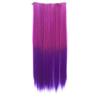 One Piece Synthetic Straight Two Tone Ombre Hairpiece Clip-on WigHair Extension Beauty Tool Rose to Dark Purple