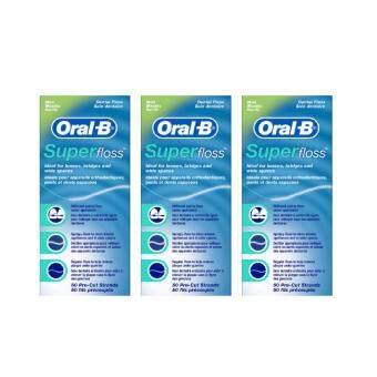 Oral-B Super Floss waxed mint 50pcs.ไหมขัดฟันออรัล-บี#แบบกล่อง (แพ็ค3ชิ้น)