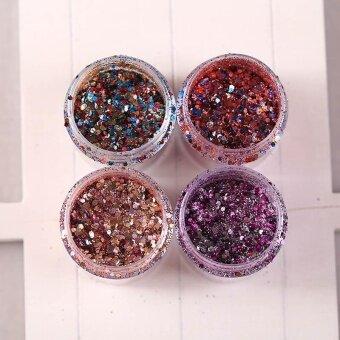 Popular Colorful Paillette Glitter Dust Powder Sequins Sheets Nail Art Tips 4 Colors - intl