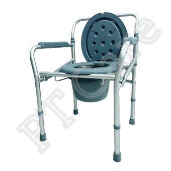 เก้าอี้นั่งถ่ายอลูมิเนียมอัลลอยด์ แบบพับได้ (สีเทา)