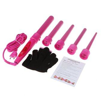 ซื้อ/ขาย Professional Hair Curler Roller 5 in 1 Functions Cylindrical 5 Curling Irons Wand Set Rechargeable Perm Hair Curling Instrument Pink EU Plug (Intl)