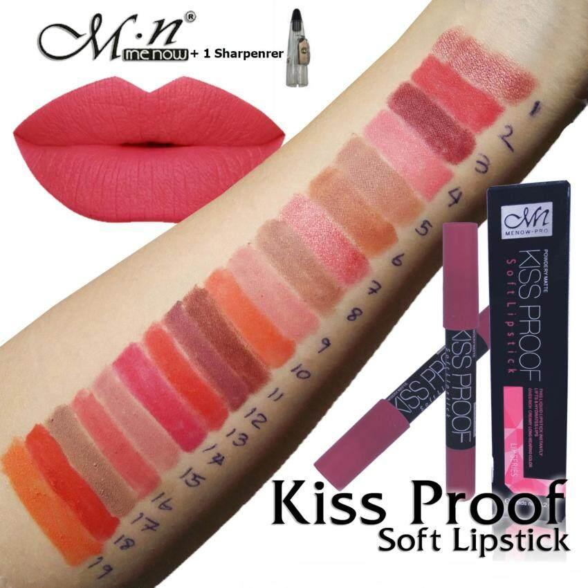 (Set19แท่ง) + 1กบเหลา *คิสพรูฟ* Menow Kissproof Soft lipstick 4.2g. ลิปดินสอสีสวย เนื้อแมทบางเบา ติดทนนาน