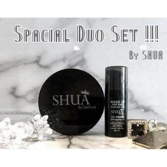 SHUA เซตคู่ เซรั่มรองพื้น+แป้งเค้กทูเวย์ แป้งชัว ปกปิด เนียนเรียบ กันน้ำ กันแดด SPF45 PA+++ ควบคุมความมันนาน 6 ชม.