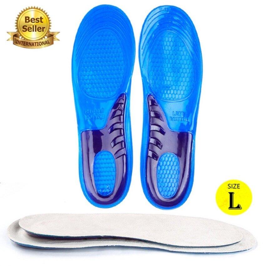 แผ่นรองเท้ารักษาการปวดเท้า แผ่นรองเต็มเท้า แผ่นเจลรองเท้า ด้านล่างสีน้ำเงิน Size L image