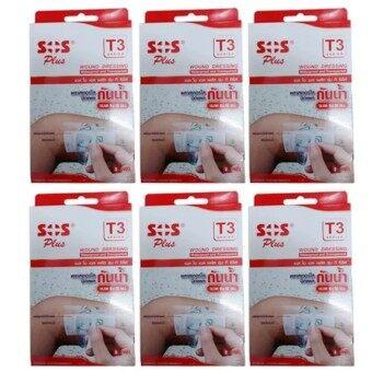 ประเทศไทย SOS Plus T3 พลาสเตอร์ปิดแผลกันน้ำ ชนิดใส ขนาด 6 x 10 ซม. จำนวน 6 กล่อง (กล่องละ 2 ชิ้น)