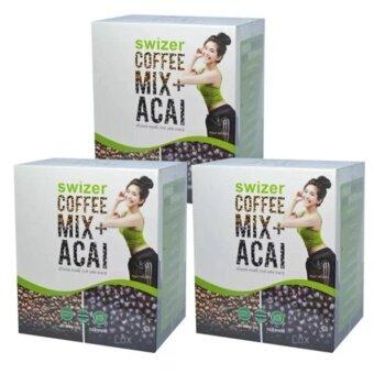 ราคา SWIZER COFFEE MIX ACAI BERRYกาแฟเพื่อสุขภาพ สไวเซอร์ คอฟฟี่ มิกซ์ พลัส อาซาอิ เบอร์รี่ จากป่าอเมซอนในบราซิล บรรจุ 10 ซอง (3 กล่อง)