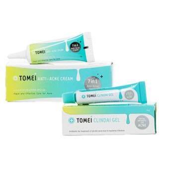 Tomei Anti-Acne Cream ขนาด 5 กรัม (1 หลอด) + Tomei Clindai Gel ขนาด 5 กรัม (1 หลอด) รักษาสิวอักเสบ ลดรอยแดง