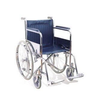 Triple รถเข็นผู้ป่วย พับได้ชุบโครเมี่ยม ล้อ 24 นิ้ว ไม่มีเบรคมือรุ่น CA905 (สีน้ำเงิน)
