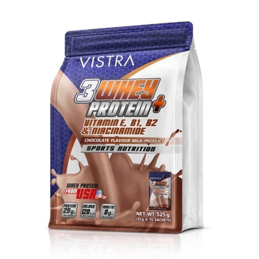 สินค้ายอดนิยม VISTRA Sport 3 Whey Protein+เสริมสร้างกล้ามเนื้อกลิ่นช๊อกโกแลต525g check ราคา