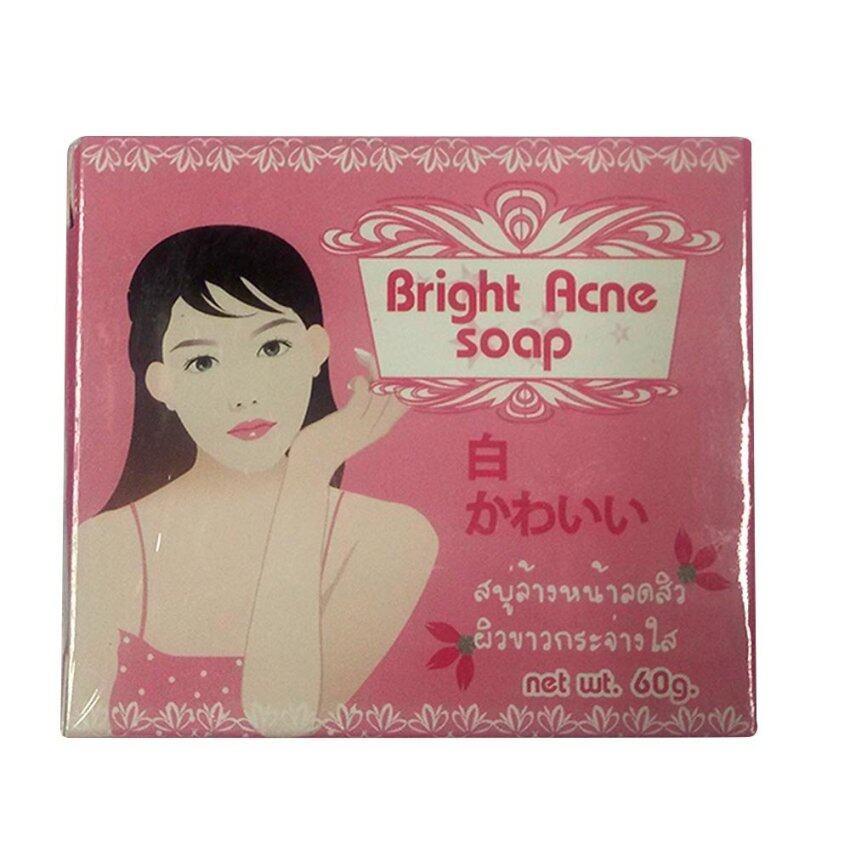 White Aura  Acne Soap BRIGHT AND WHITE สบู่ล้างหน้า ลดสิว 60g.