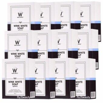 Wink white Soap สบู่วิ๊งไวท์ สูตรใหม่ ผิวกระจ่างใสกว่าเดิม ด้วยสตอเบอรี่ขาว และวิตามินจากผลไม้ ผิวเนียนนุ่ม ขาวออร่า น่าสัมผัส (ขนาด 80 กรัม x 12 ก้อน)