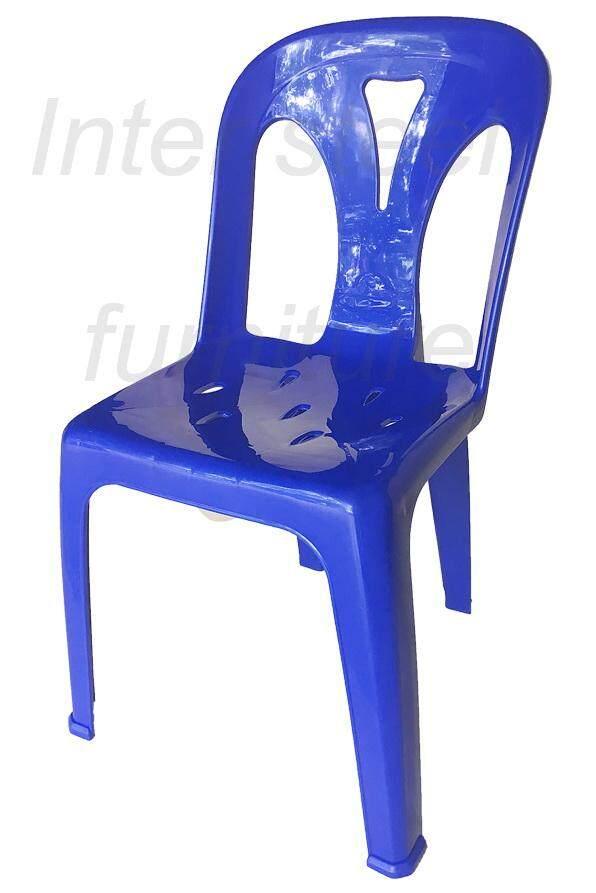 เช่าเก้าอี้ กรุงเทพ Inter Steel เก้าอี้พลาสติก เกรดA มีพนักพิง รุ่นหลังY - สีน้ำเงินสด Plastic chair  Grade A  with backrest  Y-lightBlue