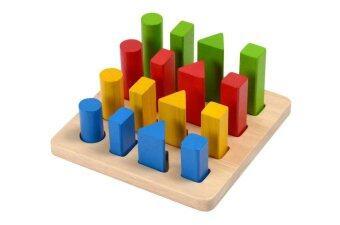 PlanToys ของเล่นไม้ กระดานแท่งเรขา Geometric Peg Board