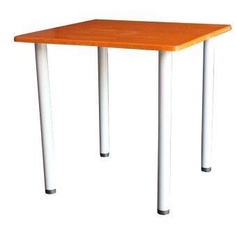Inter Steelโต๊ะทานข้าว ท็อปสี่เหลี่ยม รุ่น 75x75-TI (ขาสีเทา/ท้อปไม้ยางพาราเชอร์รี่)