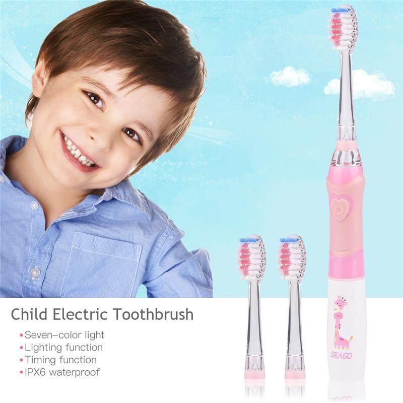 แปรงสีฟันไฟฟ้าเพื่อรอยยิ้มขาวสดใส ยโสธร Waterproof Child Electric Toothbrush Kid Vibration Electric Toothbrush Soft Bristle Timing Function Colorful Light Oral Care