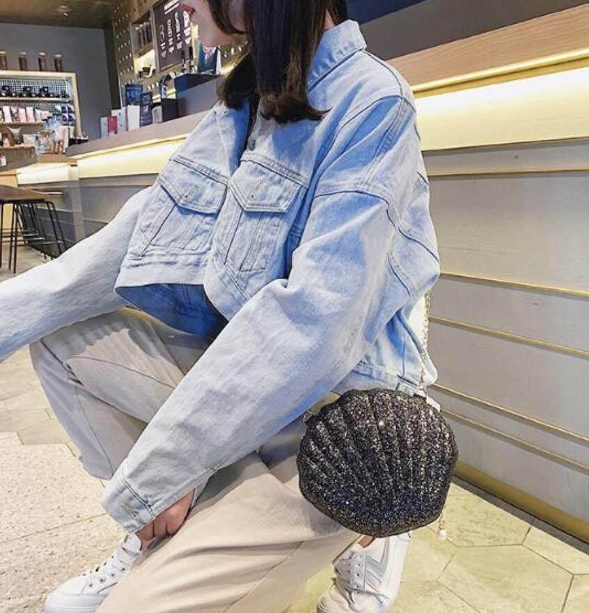 กระเป๋าสะพายพาดลำตัว นักเรียน ผู้หญิง วัยรุ่น ชุมพร กระเป๋าเป้สะพายหลัง เปลือกหอย bag