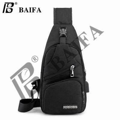 กาญจนบุรี BAIFA SHOP B85 USB กระเป๋าสะพายสำหรับผู้ชาย Canvas