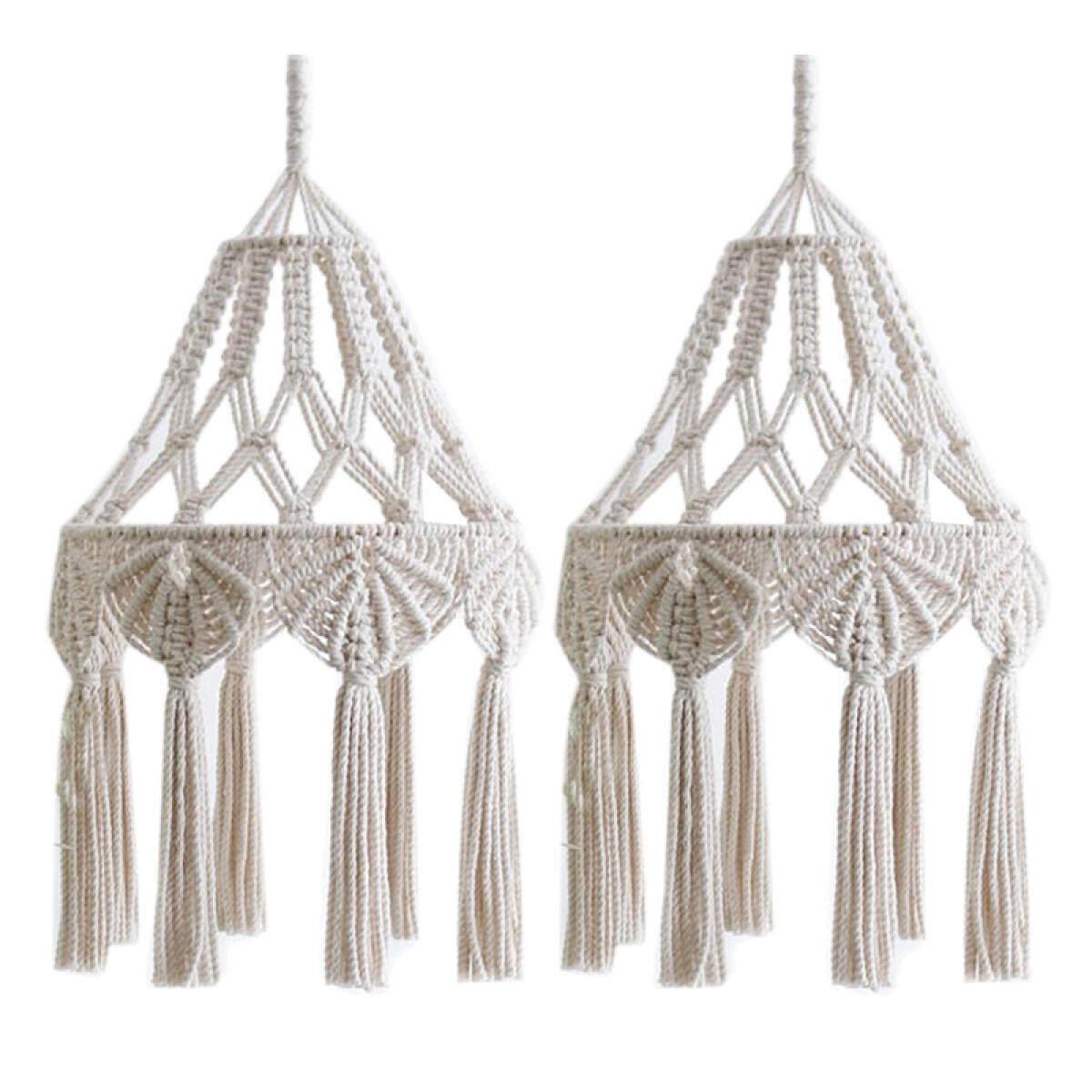 2 Pack Weave Macrame Lamp Shades Tassel Pendant Light Cover Office Bedroom Living Room Dorm Bohemian Home Decor Lazada