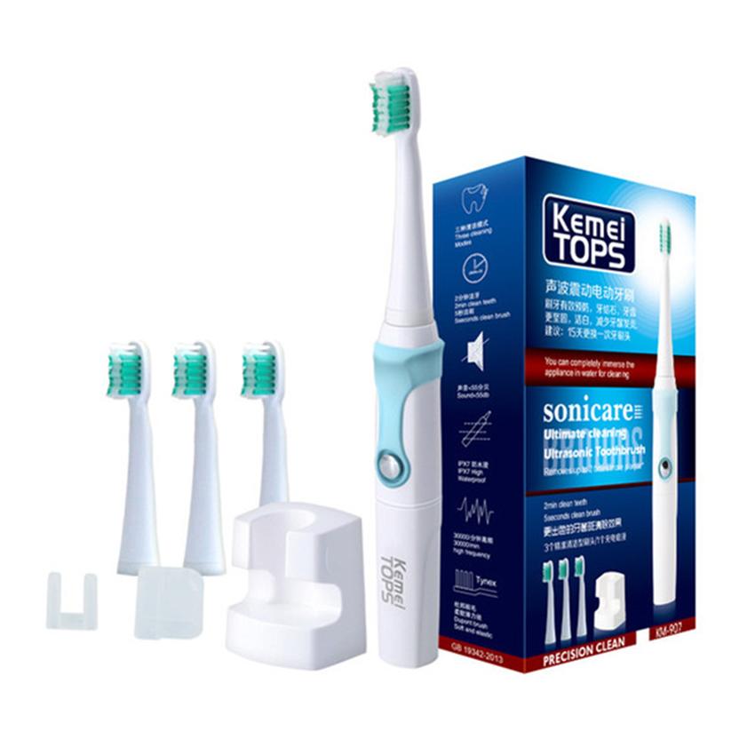 แปรงสีฟันไฟฟ้าเพื่อรอยยิ้มขาวสดใส กาญจนบุรี Victory faision KEMEI TOPS แปรงสีฟันไฟฟ้าอุลตร้าโซนิค รุ่น KM 907 rechargeable ultrasonic waterproof electric toothbrush
