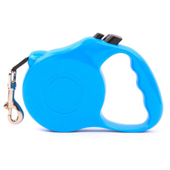 5m Retractable Pet Leash Lead One-handed Lock Training Lead Puppy Walking nylon Leash Adjustable Dog Collar for Dogs Cats(Blue)