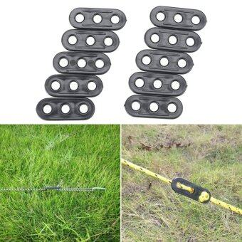 10Pcs Camping Tent Guy Rope Line Tensioners 3Holes Bent RunnersAwning - intl