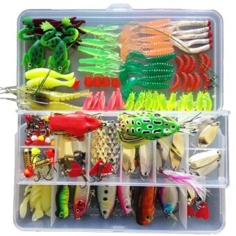 132 ชิ้น/1 เซ็ต Multifunction Fishing Lure ชุดผสม Universal ASSORTED Fishing Lure Accessories Set ตกปลารวมทั้งปลาตะขอ hard เหยื่ออ่อนและอื่นๆน้ำจืดเหยื่อสำหรับตกปลา Tackle กล่อง