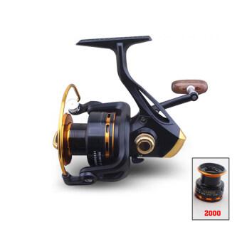 2559 คุณภาพสูงหมุนรอกรอกตกปลา YA2000 13BB 5.5:1หมุนรอกรอกตกปลาเหยื่อปลาเส้นทอด (สีดำ)