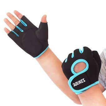 ราคา achute ถุงมือฟิตเนต ออกกำลังกาย ป้องกันการลื่นสำหรับผู้หญิงและผู้ชาย สีดำ/ ฟ้า