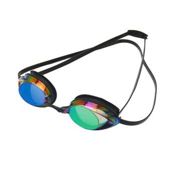 แว่นตาว่ายน้ำแข่งดำน้ำมืออาชีพผู้ใหญ่ Antifog แอนตี้ยูวีในร่ม หรือกีฬากลางแจ้งกันน้ำฝาแว่นตากับจมูกอุดหูหนีบสีดำ (ในประเทศ)
