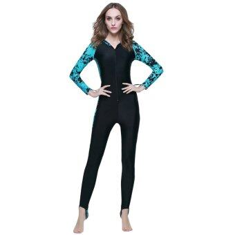 AOXINDA Women Wetsuits Surf Diving Snorkeling Swimming Beach LongSleeve Hooded Anti-UV Diving Suits with Pad For 155 – 175cm (Blue)-Intl