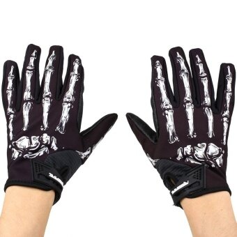 2561 Autumn Windproof Waterproof Touch Screen Sports Skeleton Bones Gloves Gym - intl
