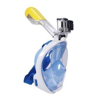 ราคา Backpack4U หน้ากากดำน้ำด้วยท่อหายใจ หน้ากากดำน้ำตื้น Super Snorkel แบบมีฐานติดกล้อง Gopro รุ่น DP01N ( สีฟ้า)