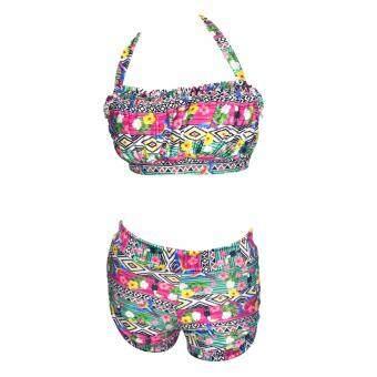 ชุดว่ายน้ำ 2 พีช กางเกง รุ่น 026-04 (ลายกราฟฟิค) ChaCha Bikini