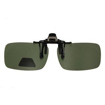 Dark Brown/Green Driving Polarized Flip-up Lens Clip-on Sunglasses Glasses