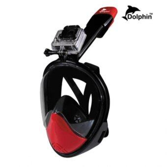 ราคา Dolphin หน้ากากดำน้ำด้วยท่อหายใจ แบบเต็มหน้า สน็อกเกิ้ล รุ่นใหม่ DP02N หน้าโค้ง (สีดำแดง) ไซต์ S/M