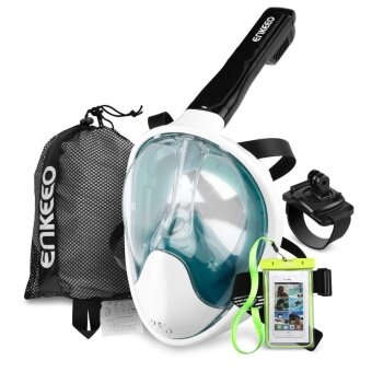 Enkeeo Full Face Snorkel Mask with 180° Panoramic View L/XL (Army Green) - intl