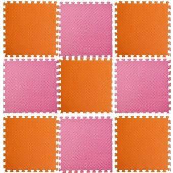 ซื้อ/ขาย แผ่นรองคลาน แผ่นกันกระแทก EVA 60*60*1.2 มี 9 แผ่นต่อชุด สีส้ม ชมพู พื้นที่180*180